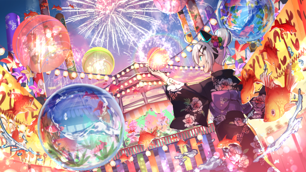 Concept Art for HIKKY's Virtual Market and it's Japanese festival world, where the DecaMove booth is located